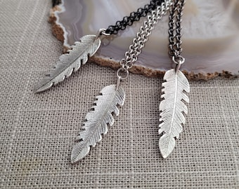 Feather Necklace, Your Choice of Three Rolo Chains Finishes, Mixed Metals, Mens Minimalist Jewelry