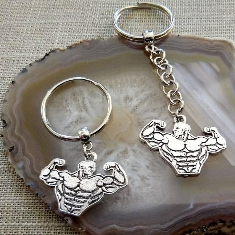 Silver Key Ring or Zipper Pull Body Builder Key Fob Weightlifter Keychain