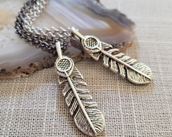 Feather Necklace, Your Choice of Gunmetal or Silver Rolo Chain, Mens Minimalist Jewelry