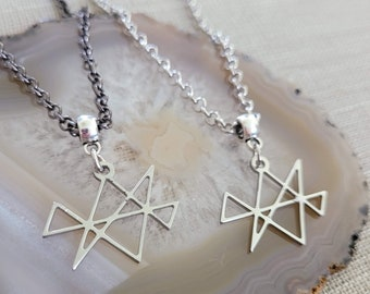 Midas Star Necklace, Your Choice of Gunmetal or Silver Rolo Chain, Reiki Jewelry