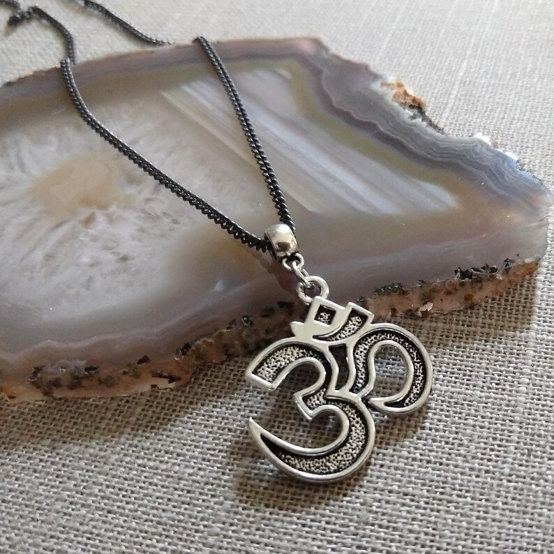 Ohm Pendant on Gunmetal Curb Chain Silver Ohm Necklace Mixed Metals Yoga Jewelry