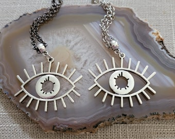 Evil Eye Necklace, Your Choice of Gunmetal or Silver Rolo Chain, Protection Talisman Jewelry