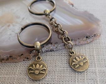 Lotus Flower Keychain, Yoga Backpack or Purse Charm, Zipper Pull