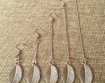 Leaf Earrings - Silver Leaf Earrings in Your Choice of Five Lengths - Dangle Earrings / Long Earrings / Chain Earrings / Bohemian Jewelry