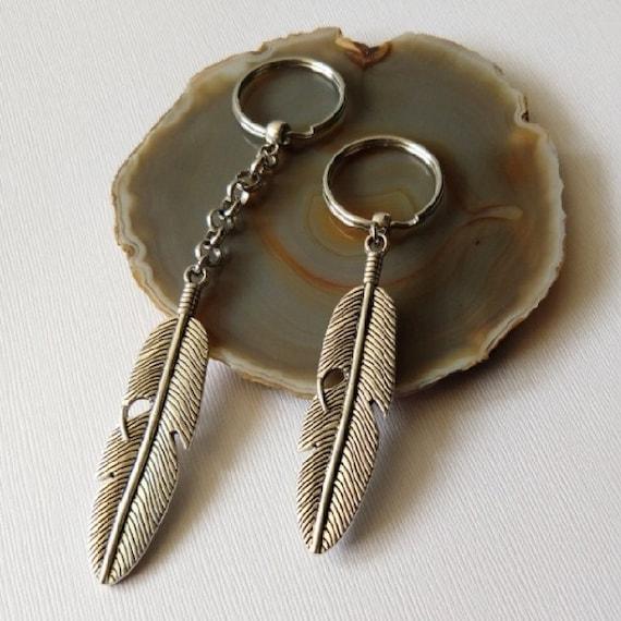 Feather Keychain Silver Key Ring Fob Mens Accessories  86f73dd9a