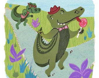 Alligator brothers, giclee print