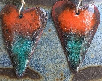 Hombre Heart earrings, red multicolor earrings ,  gift for her, hand forged torch fired enamel earrings
