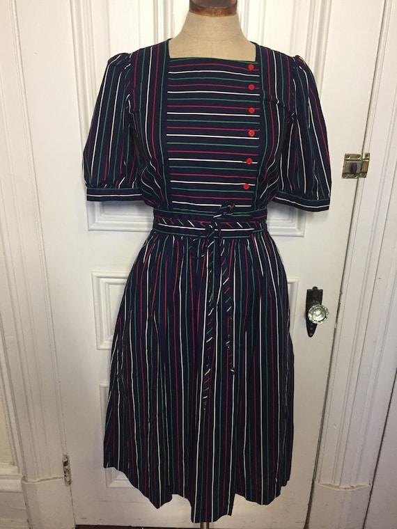 Vintage 1980s Lanz striped dress