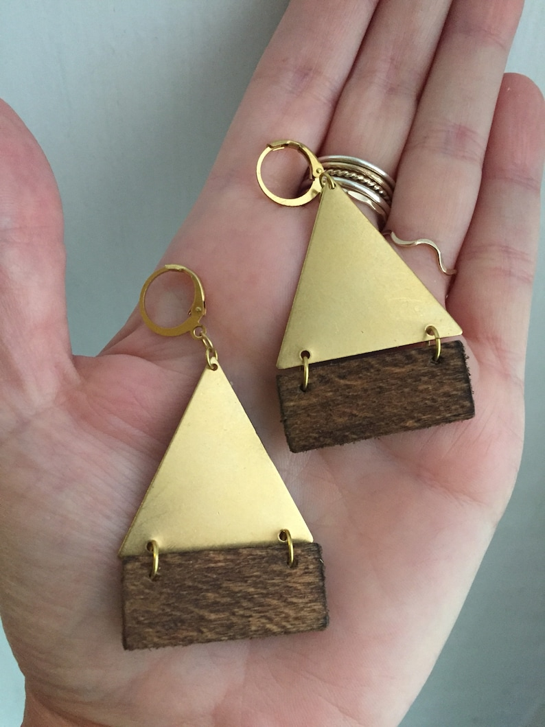 Brass triangle with wood earrings