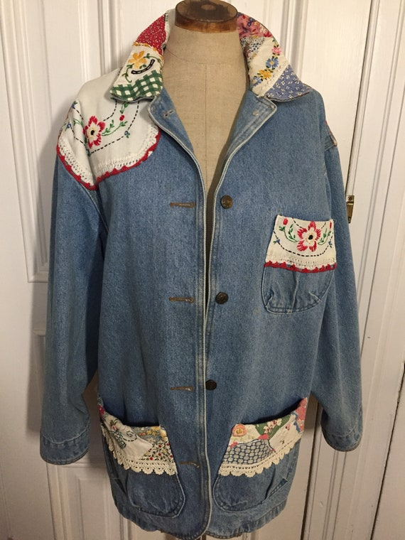 Vintage denim jean chore coat with embroidered emb
