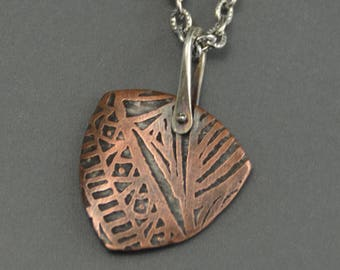 Copper Pendant, etched, triangle pendant, necklace, sterling silver, pinned rivet, stirrup link, mixed metal necklace, metalwork, zentangle