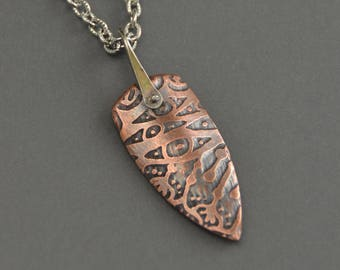 Copper Pendant, etched,  shield pendant, necklace, sterling silver, pinned rivet, stirrup link, mixed metal necklace, metalwork, zentangle