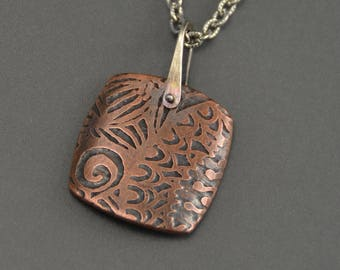 Copper Pendant, etched, square pendant, necklace, sterling silver, pinned pendant, stirrup link, mixed metal necklace, metalwork, zentangle