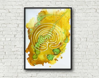 Yellow and Green Labyrinth Painting - Ready to Frame