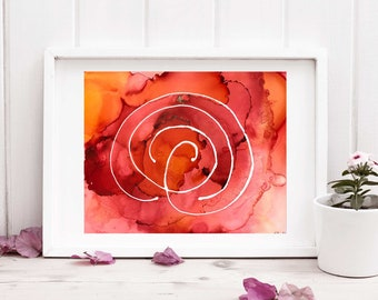Red Fire Labyrinth Painting - Ready to Frame