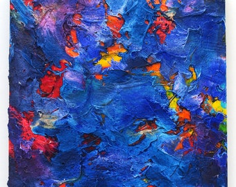 """12""""x12"""" """"Salt-Water Churn"""" Abstract mixed media painting on cradle board"""
