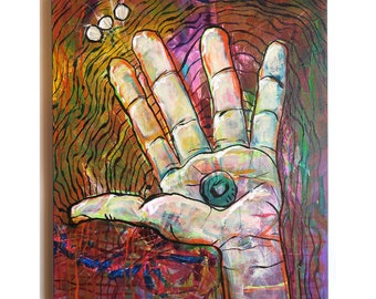 """15 x 20 """"Power in Her Hand"""" original Energetic acrylic painting on canvas"""