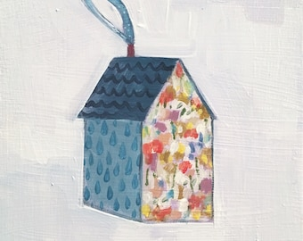 A home made of raindrops and wildflowers - original oil painting on wood