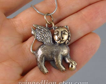 WINGED LION bronze pendant - Ready to ship