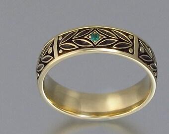 EVERGREEN LAUREL mens wedding band 14k gold with Emerald unisex ring
