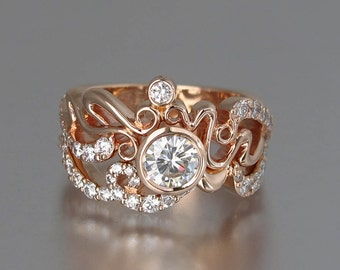 ODELIA 14K gold engagement ring & wedding band set with .5ct Moissanite and diamonds Art Nouveau inspired