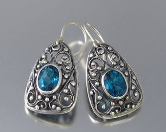 GERTRUDE silver earrings with London Blue Topaz - Ready to ship