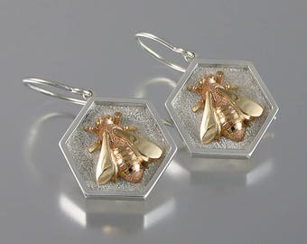 HONEY BEE sterling silver and 14k gold earrings Ready to Ship