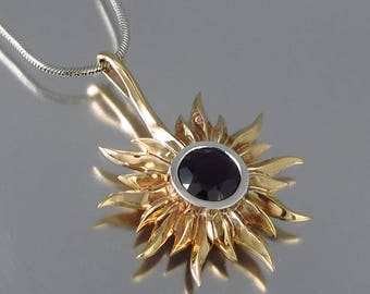 SOLAR ECLIPSE bronze and silver sun pendant with Black Spinel Ready to ship