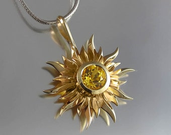 SUN 14k gold pendant with Golden Beryl  - Ready to ship