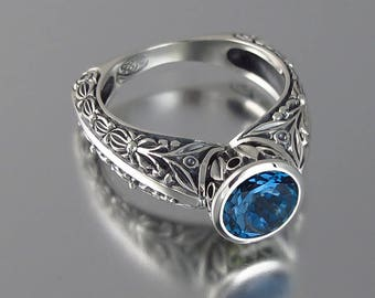 THE COUNTESS silver ring with London Blue Topaz (sizes 7 to 9.5)