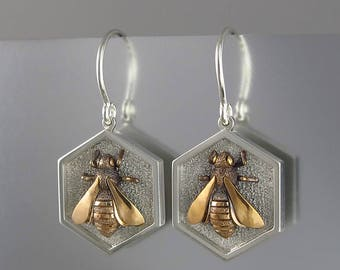 HONEY BEE sterling silver and bronze earrings
