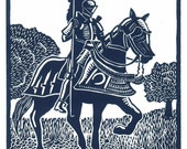 VICTORY Knight linocut by Lev