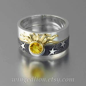 Sun and Moon Silver ring Yellow sapphires