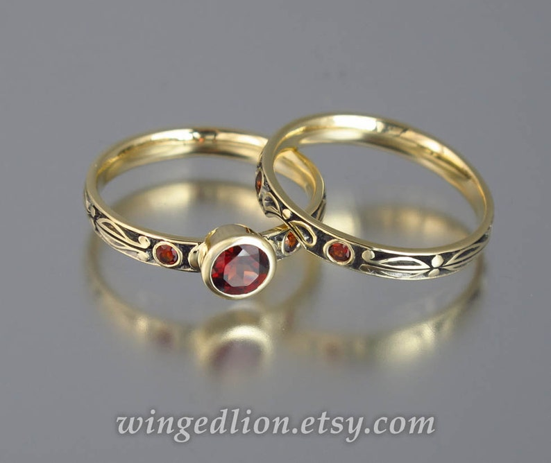 AUGUSTA 14K gold Red Garnet engagement ring & band wedding set image 0