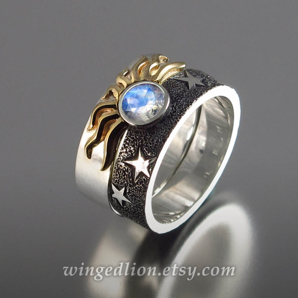 Solar Eclipse Sun And Moon Engagement Rings With Moonstone