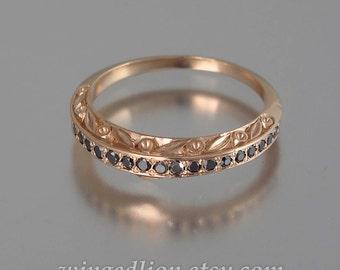 THE ENCHANTED Wedding Band 14k rose gold and Black Diamonds half-eternity band