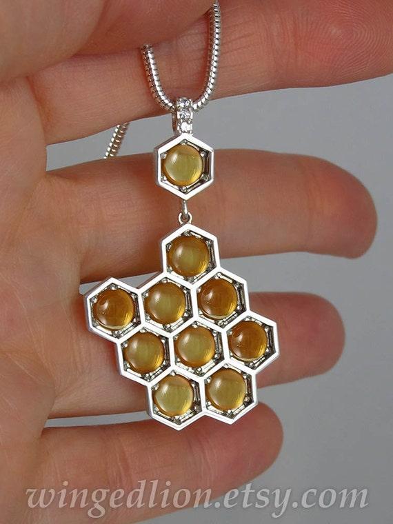 plata encanto de abeja Collar de plata esterlina Honey Bee Con Citrino colgante