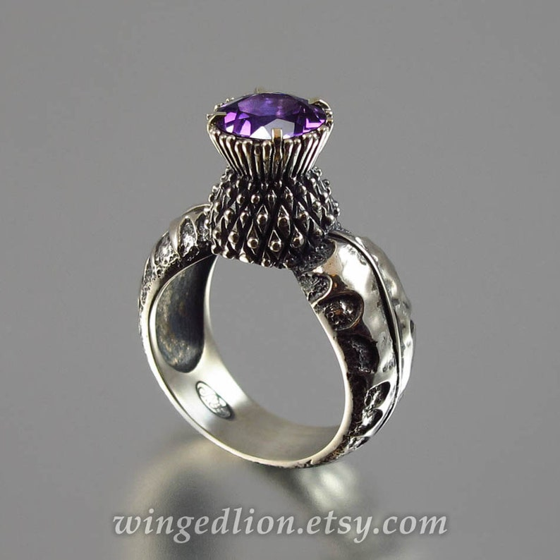 BLOOMING THISTLE silver ring with Amethyst image 0