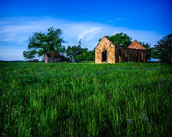 Texas Landscape, Texas Photography, Blue Skies Photo, Blue Decor, Green Grass, Hill Country, Llano County, Blue and Green Art