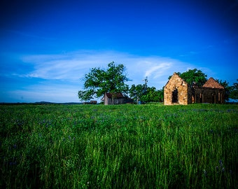 Texas Landscape Photo, Texas Photography, Blue Skies Photo, Blue Decor, Green Grass, Hill Country, Pontotoc, Blue and Green Art, Ruins