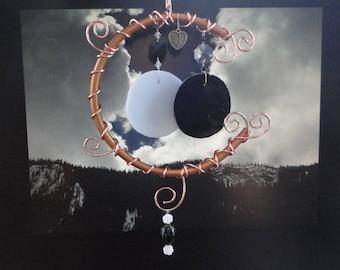 "Stained Glass, Eclipse, Wind Chime, Copper, Garden Sculpture, Moon, Celestial, Mobile, Black and White, Home Decor, Yin Yang, ""Moon Shadow"""