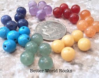35 pc. 6mm Chakra Beads, Chakra Stones, Chakra Healing, Rainbow Beads, Genuine Healing stones, Yoga Jewelry,