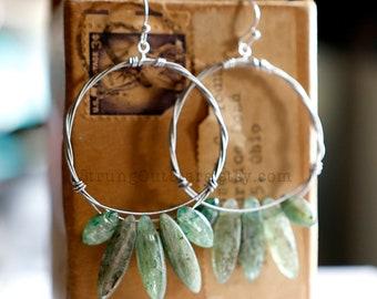 Strung-Out guitar string hoop earrings with green Kyanite
