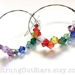 RESERVED - Over the Rainbow - Strung-Out ukulele string hoop earrings