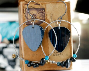 Strung-Out guitar string hoop earrings with blue leather apatite onyx