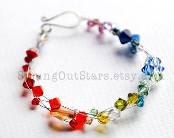 Rainbow - Swarovski crystal and recycled guitar string bracelet by Strung-Out