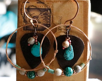 Strung-Out guitar string hoop earrings with leather turquoise petoskey stone malachite copper