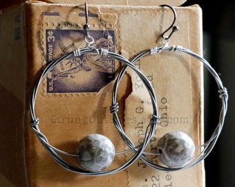 Petoskey Stone Strung-Out guitar string hoop earrings