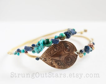 Earth Sea and Sky - Strung-Out guitar string bangle duo with stamped brass turquoise lapis malachite
