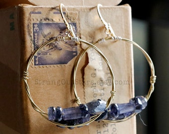 The Blues - Strung-Out guitar string hoop earrings with Iolite
